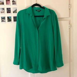 Green Silk Concealed Button Back Slit Blouse